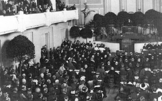 The Constituent Assembly met for the first time on 23 April 1919 in Tallinn, in Estonia Concert Hall