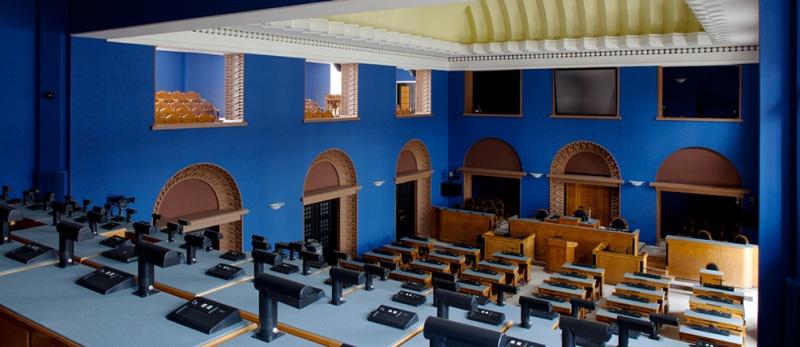 Riigikogu istungisaali ajakirjanike rõdu, 2013. Foto: Paul Kuimet