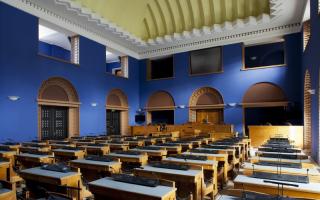 Session Hall of the Riigikogu, view from the window Photo: Paul Kuimet
