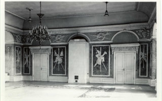 Artificial marble and stucco decorations by Schultz in the White Hall, before 1935. Photo by Parikas in the University of Tartu collection of photographs on art history (Toompea Castle, 2008, p. 51, ill. 30)