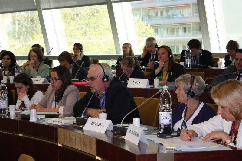 PACE Spring Session in Strasbourg, Rait Maruste at a committee meeting