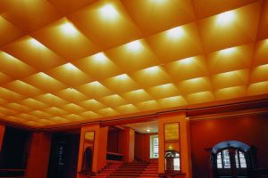 Expressionist ceiling lighting of the lobby of the Riigikogu building