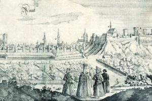 "View of Tallinn from the west. Engraving from book of travels by Adam Olearius ""Offt begehrteBeschreibung den Newen Orientalischen Reise ..."", 1647. National Library of Estonia"