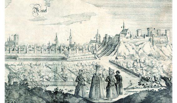 """Vaade Tallinnale läänest. Gravüür A. Oleariuse reisikirjast """"Offt begehrteBeschreibung den Newen Orientalischen Reise ..."""", 1647. Eesti Rahvusraamatukogu"""