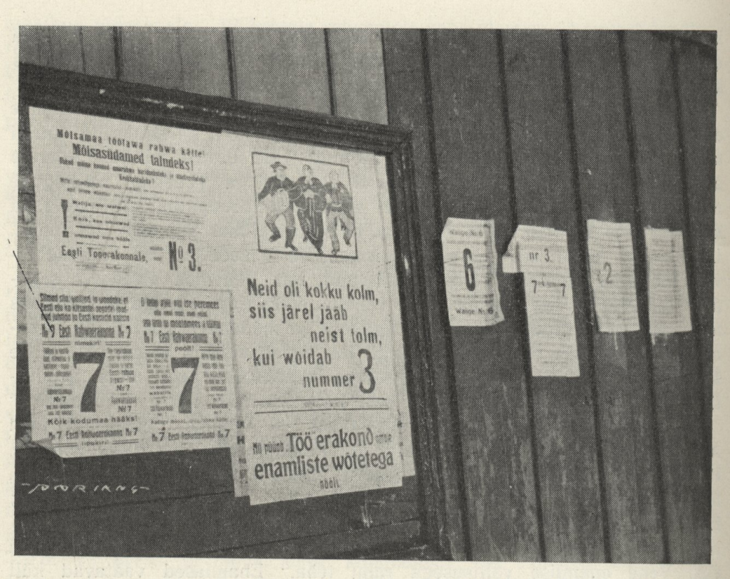 Run-up to the elections of the Constituent Assembly – propaganda posters in Tallinn. Laaman, Eduard. Eesti iseseisvuse sünd (Birth of Estonia's Independence). Tallinn, 1936, p. 4.
