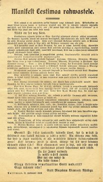 Estonian Manifesto of Independence in its original wording, as it was distributed before 24 February 1918.