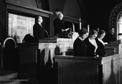 Riiginõukogu liikmed vandetõotust andmas, 21. apr. 1938 Eesti Filmiarhiiv
