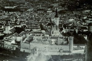 Toompea Castle during the construction of the Riigikogu building, around 1921–1922, aerial view.