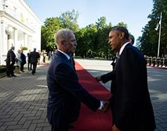 Sündmuseid fotoarhiivist - Riigikogu esimees Eiki Nestor kohtumas president Obamaga