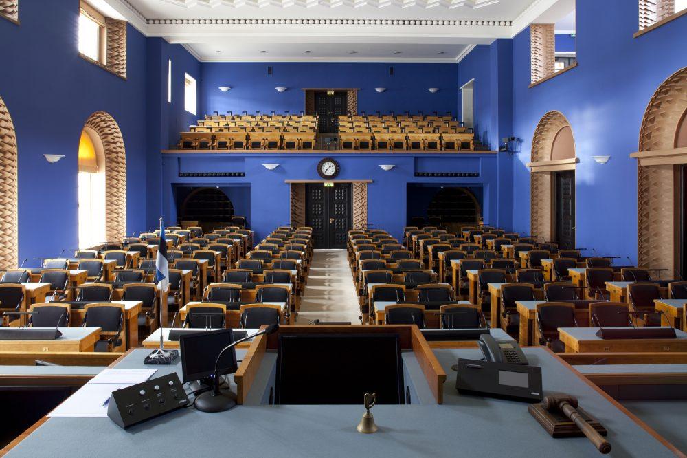 Riigikogu istungisaal, vaade istungi juhataja kohalt saalile