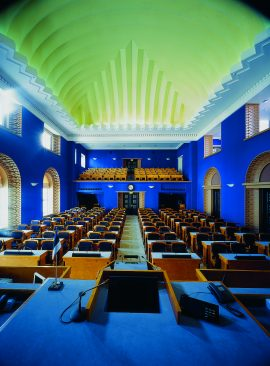 View of the Session Hall of the Riigikogu and its ceiling from the seat of the chair of the sitting