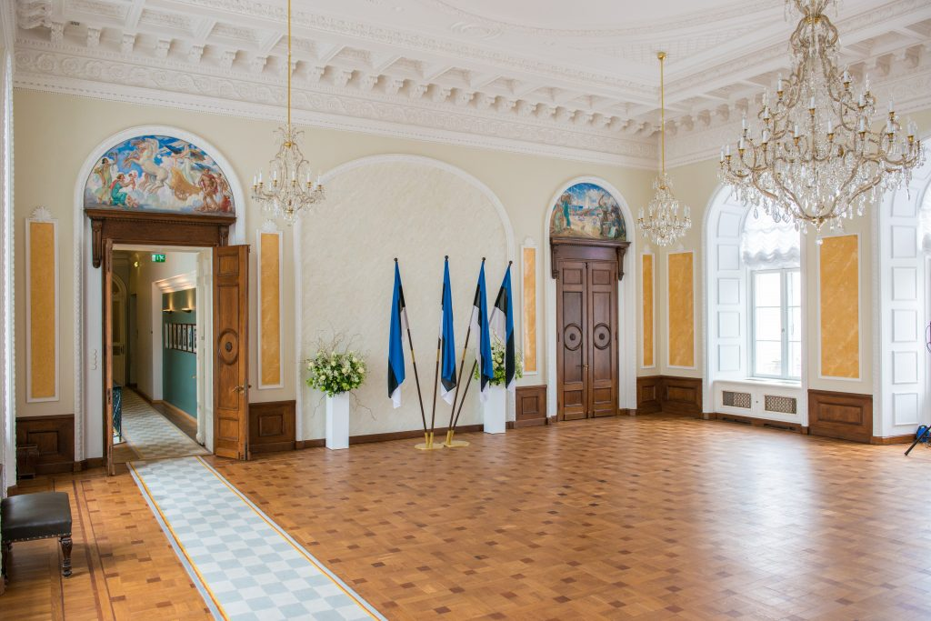 The White Hall is a space for formal events and is used for official photographs