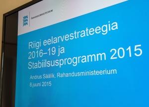 Riigikogu rahanduskomisjon kuulas Rahandusministeeriumi ülevaadet riigieelarvestrateegiast 2016–2019 ja Stabiilsusprogrammist