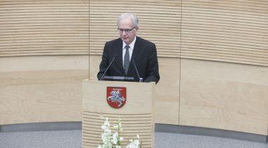 Riigikogu esimees Eiki Nestor kõnelemas Vilniuses Balti Assamblee 34. istungjärgu avamisel 20. novembril 2015.