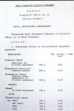 Riiklikult kehtestatud hinnad. Tarmo Vahter. Vaba riigi tulek: 1991. Kuus otsustavat kuud. Tallinn: Eesti Ekspress, 2011.