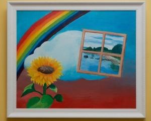 """Näitus"""" Kunst ilma käteta"""". Pildil oleva maali autor: Meelis Luks"""