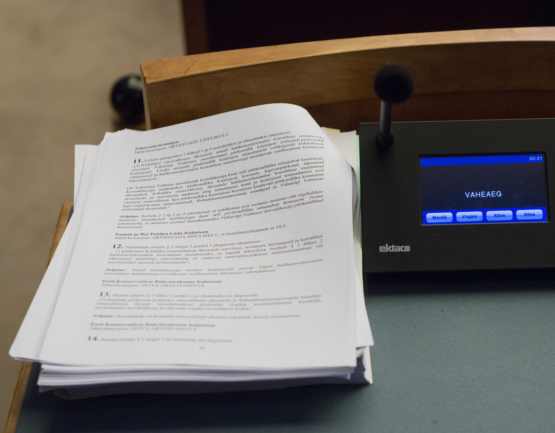 Menetlusse võeti eelnõu ENPA delegatsiooni muutmiseks