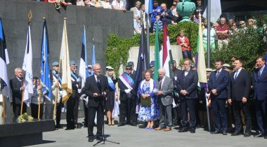 Eiki Nestor at the June deportation memorial ceremony.
