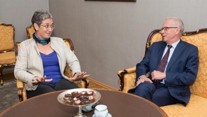 Riigikogu esimees Eiki Nestor ja Euroopa Parlamendi aseesimees Ulrike Lunacek.