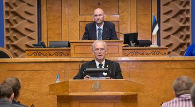 2015. aasta sügisistungjärgu avaistung. Riigikogu esimees Eiki Nestor ja I aseesimees Helir-Valdor Seeder