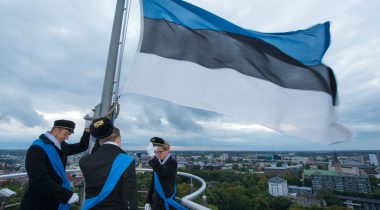 Students of Tallinn School Nr 21 hoisted Estonian flag on top of Tall Herman tower.