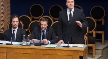 Infotund. Peaminister Jüri Ratas, kultuuriminister Indrek Saar, kaitseminister Margus Tsahkna