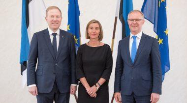 Marko Mihkelson, Federica Mogherini, Hannes Hanso