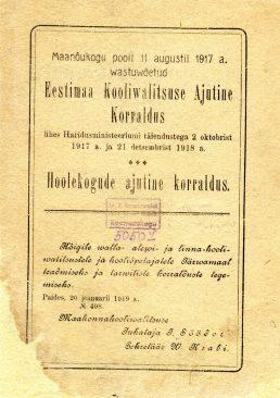 Eestimaa koolivalitsuse ajutine korraldus