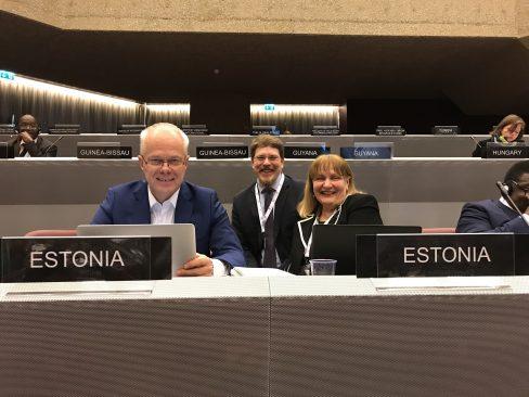 IPU Eesti delegatsiooni juht Helmen Kütt ja liige Toomas Kivimägi IPU 138. assambleel. Foto: Marju Tamp / Riigikogu Kantselei