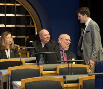 """OTRK arutelu teemal """"Vabadusele, õiglusele ja õigusele rajatud riik"""". Foto: Erik Peinar / Riigikogu Kantselei"""