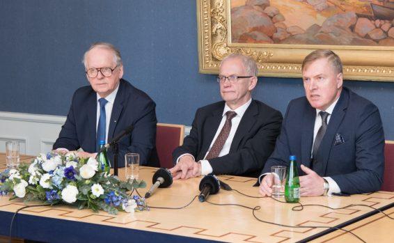 XIII Riigikogu juhatus: Enn Eesmaa, Eiki Nestor ja Kalle Laanet
