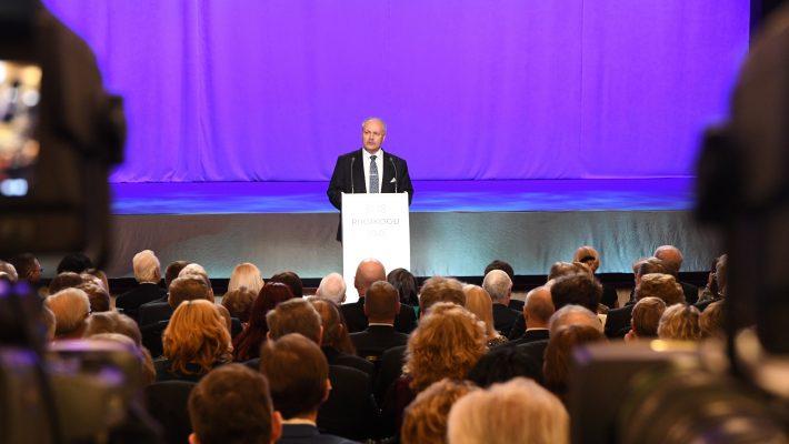 Riigikogu esimees Henn Põlluaas peab kõne Riigikogu 100. sünnipäeva kontsertaktusel