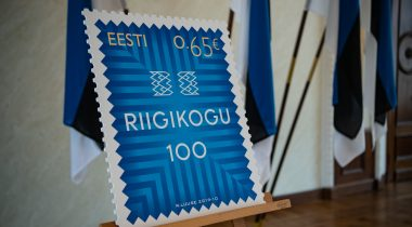 Riigikogu 100 stamp. The stamp has been designed by artist Riho Luuse. Photo: Erik Peinar