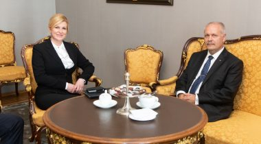 President of the Riigikogu (Parliament of Estonia) Henn Põlluaas and President of Croatia Kolinda Grabar-Kitarović