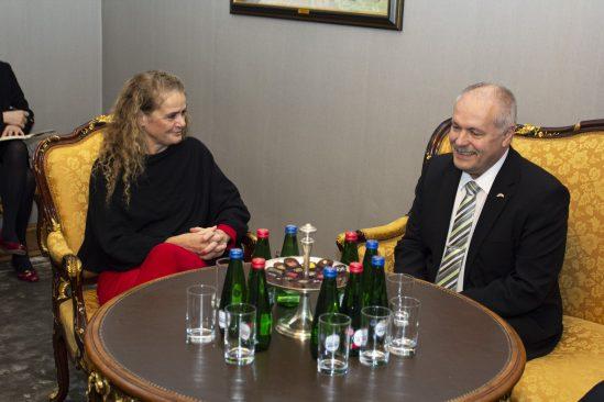 Riigikogu esimees Henn Põlluaas kohtumisel Kanada kindralkuberneri Julie Payette'iga