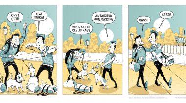 Väljavõte Soome-Eesti hargmaiste perede koomiksisarjast. Illustratsioon: Martin Rattas