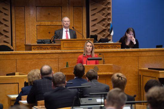 """Kaja Kallas olulise tähtsusega riikliku küsimuse """"Kas õigusriik on ohus?"""" arutelul"""