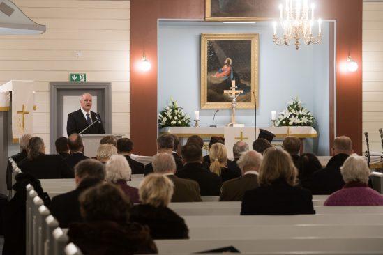 Riigikogu esimees Henn Põlluaas Nõmme Rahu kirikus. Foto: Erik Peinar