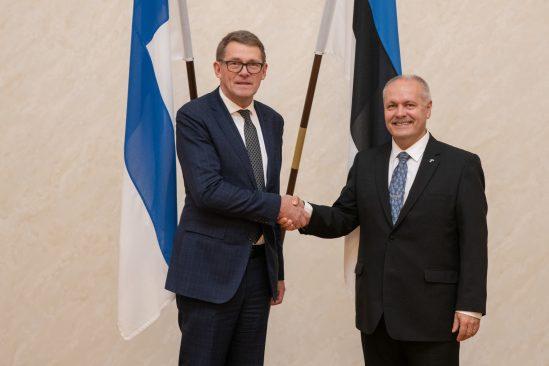 Foto: R. Pajula Soome parlamendi esimees Matti Vanhanen ja Riigikogu esimees Henn Põlluaas