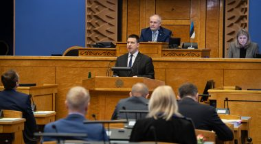 Prime Minister replied to an interpellation concerning Rail Baltic. Photo: Erik Peinar