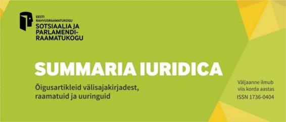 Väljaanne Summaria Iuridica