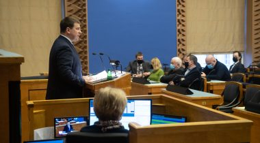 Prime Minister gave the Riigikogu an overview of the situation caused by coronavirus. Photo: Erik Peinar