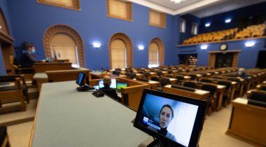 Peaminister Kaja Kallase ülevaade valitsuse Euroopa Liidu poliitikast. Foto: Erik Peinar, Riigikogu Kantselei