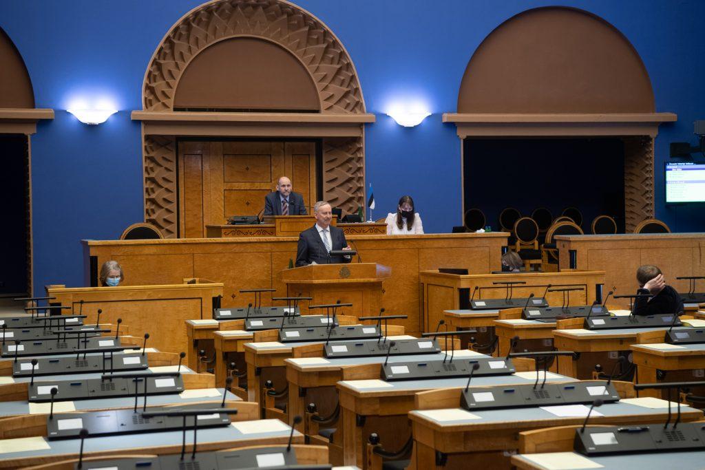 Euroopa Liidu asjade komisjoni esimehe Siim Kallase ülevaade ELAKi tööst. Foto: Erik Peinar, Riigikogu Kantselei