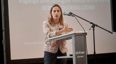 Riigikogu ametiühingute toetusrühma esimees Oudekki Loone. Foto: Riigikogu Kantselei