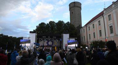 Pidulik riigilipu heiskamise tseremoonia 20. augustil 2021 Kuberneri aias. Foto: Erik Peinar, Riigikogu Kantselei